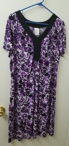 Purple and black floral dress, size 1x or 16w.